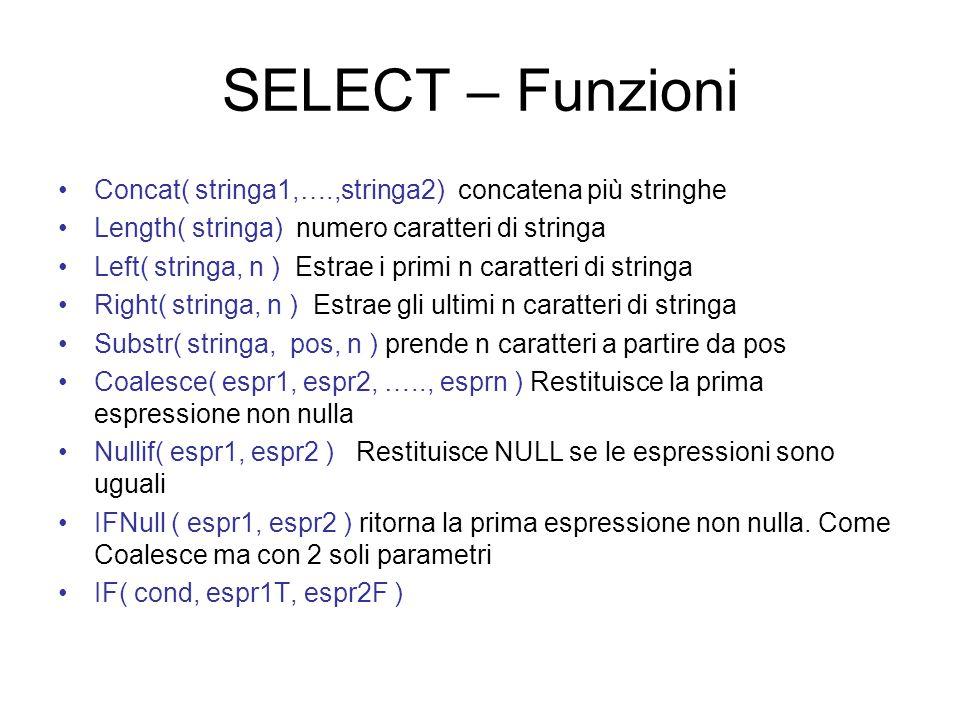 SELECT – Funzioni Concat( stringa1,….,stringa2) concatena più stringhe Length( stringa) numero caratteri di stringa Left( stringa, n ) Estrae i primi n caratteri di stringa Right( stringa, n ) Estrae gli ultimi n caratteri di stringa Substr( stringa, pos, n ) prende n caratteri a partire da pos Coalesce( espr1, espr2, ….., esprn ) Restituisce la prima espressione non nulla Nullif( espr1, espr2 ) Restituisce NULL se le espressioni sono uguali IFNull ( espr1, espr2 ) ritorna la prima espressione non nulla.