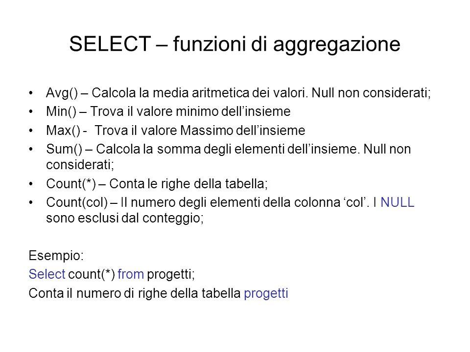 SELECT – funzioni di aggregazione Avg() – Calcola la media aritmetica dei valori.