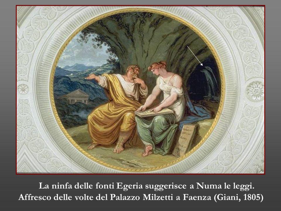 La ninfa delle fonti Egeria suggerisce a Numa le leggi. Affresco delle volte del Palazzo Milzetti a Faenza (Giani, 1805)