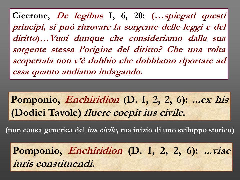 Pomponio, Enchiridion (D. I, 2, 2, 6):...ex his (Dodici Tavole) fluere coepit ius civile. (non causa genetica del ius civile, ma inizio di uno svilupp