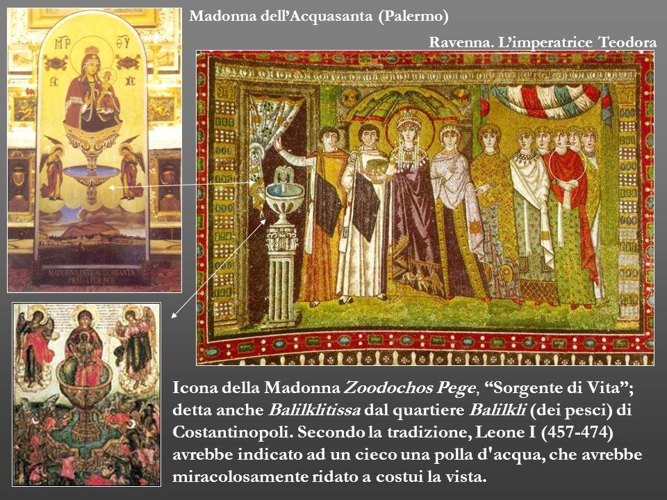 """Icona della Madonna Zoodochos Pege, """"Sorgente di Vita""""; detta anche Balilklitissa dal quartiere Balilkli (dei pesci) di Costantinopoli. Secondo la tra"""