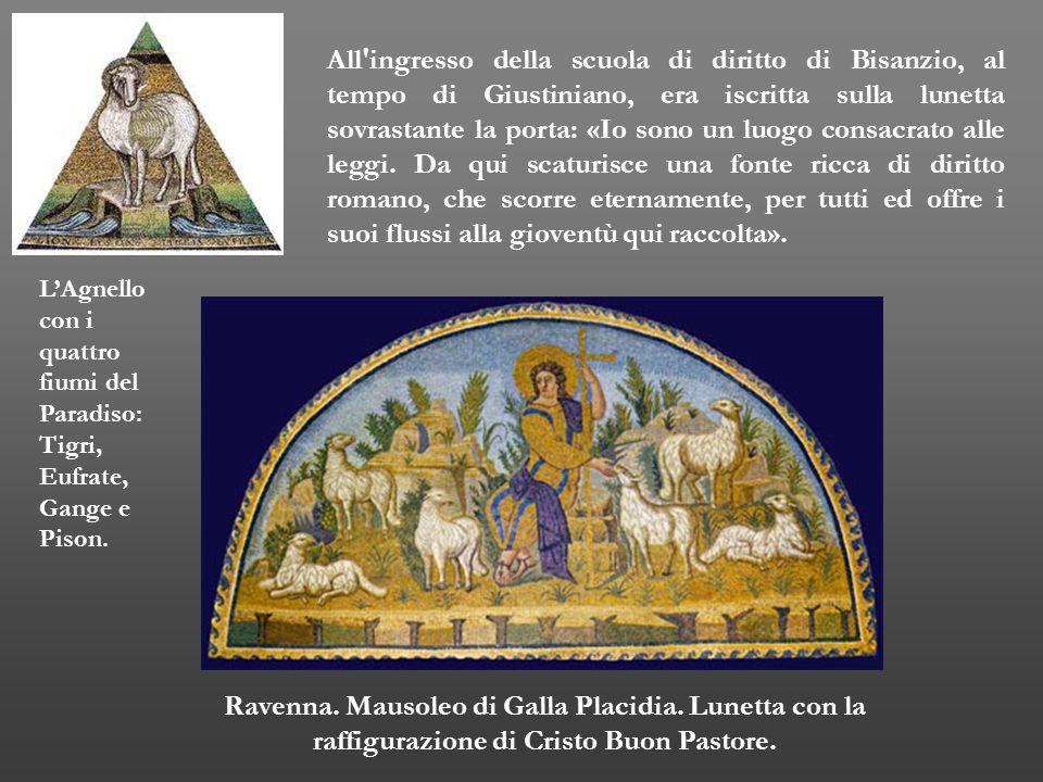 Ravenna. Mausoleo di Galla Placidia. Lunetta con la raffigurazione di Cristo Buon Pastore. All'ingresso della scuola di diritto di Bisanzio, al tempo