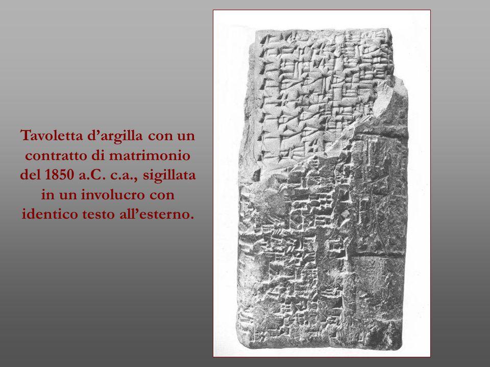 Tavoletta d'argilla con un contratto di matrimonio del 1850 a.C. c.a., sigillata in un involucro con identico testo all'esterno.