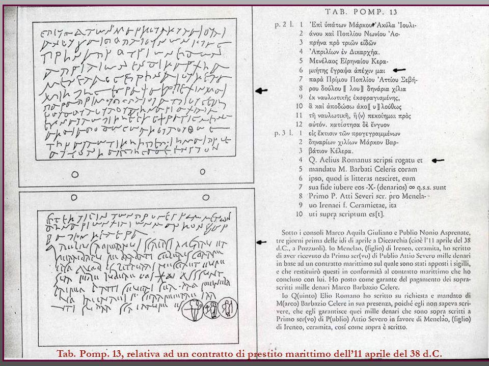 Tab. Pomp. 13, relativa ad un contratto di prestito marittimo dell'11 aprile del 38 d.C.