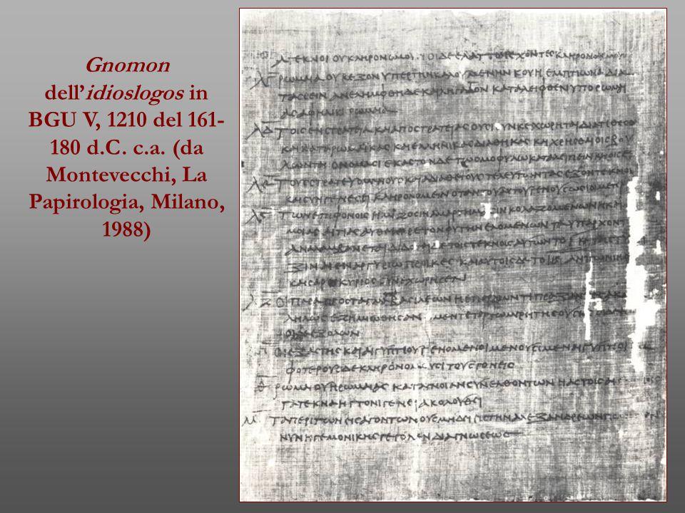 Gnomon dell'idioslogos in BGU V, 1210 del 161- 180 d.C. c.a. (da Montevecchi, La Papirologia, Milano, 1988)