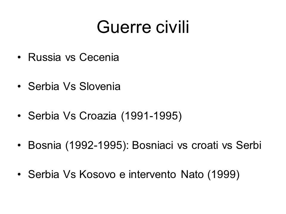 Guerre civili Russia vs Cecenia Serbia Vs Slovenia Serbia Vs Croazia (1991-1995) Bosnia (1992-1995): Bosniaci vs croati vs Serbi Serbia Vs Kosovo e intervento Nato (1999)