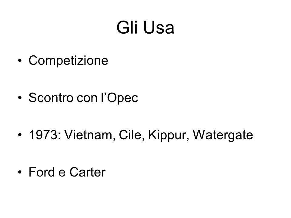 Gli Usa Competizione Scontro con l'Opec 1973: Vietnam, Cile, Kippur, Watergate Ford e Carter