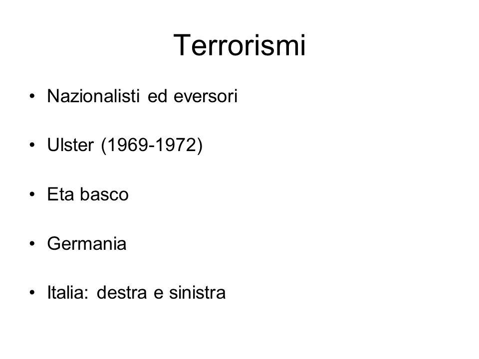 Terrorismi Nazionalisti ed eversori Ulster (1969-1972) Eta basco Germania Italia: destra e sinistra