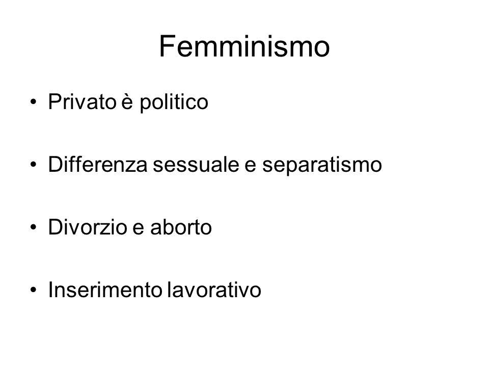 Femminismo Privato è politico Differenza sessuale e separatismo Divorzio e aborto Inserimento lavorativo