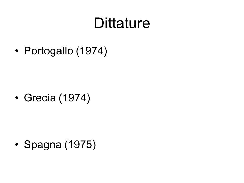 Dittature Portogallo (1974) Grecia (1974) Spagna (1975)