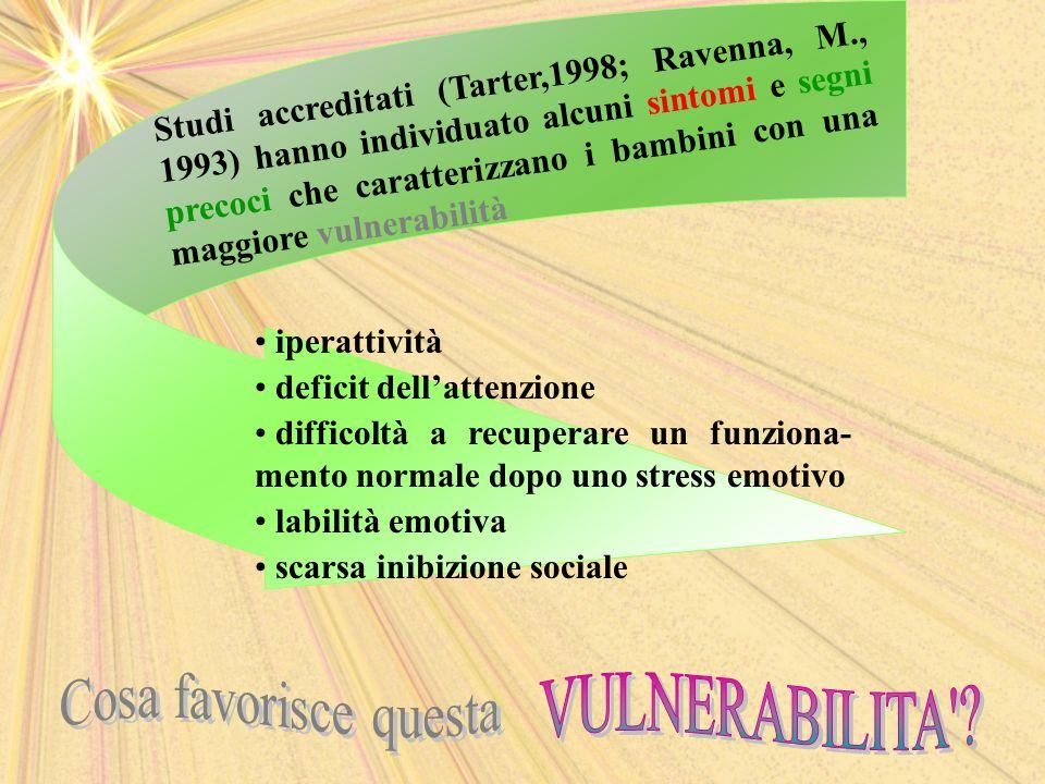 Studi accreditati (Tarter,1998; Ravenna, M., 1993) hanno individuato alcuni sintomi e segni precoci che caratterizzano i bambini con una maggiore vulnerabilità iperattività deficit dell'attenzione difficoltà a recuperare un funziona- mento normale dopo uno stress emotivo labilità emotiva scarsa inibizione sociale