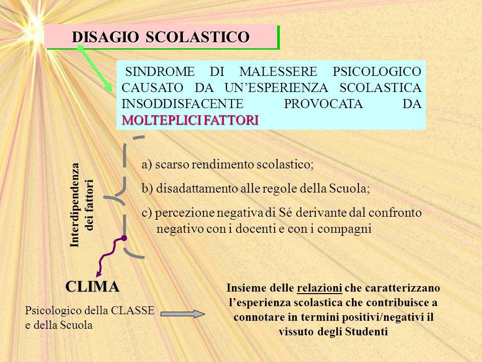 DISAGIO SCOLASTICO MOLTEPLICI FATTORI SINDROME DI MALESSERE PSICOLOGICO CAUSATO DA UN'ESPERIENZA SCOLASTICA INSODDISFACENTE PROVOCATA DA MOLTEPLICI FA