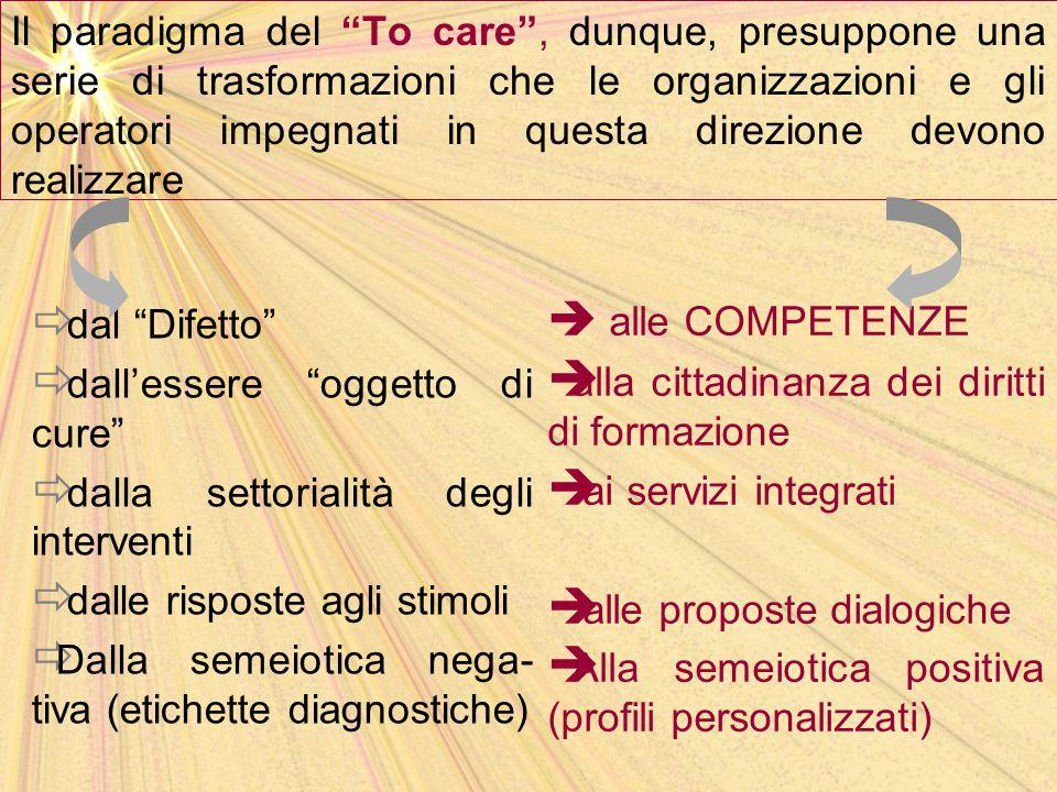 """Il paradigma del """"To care"""", dunque, presuppone una serie di trasformazioni che le organizzazioni e gli operatori impegnati in questa direzione devono"""