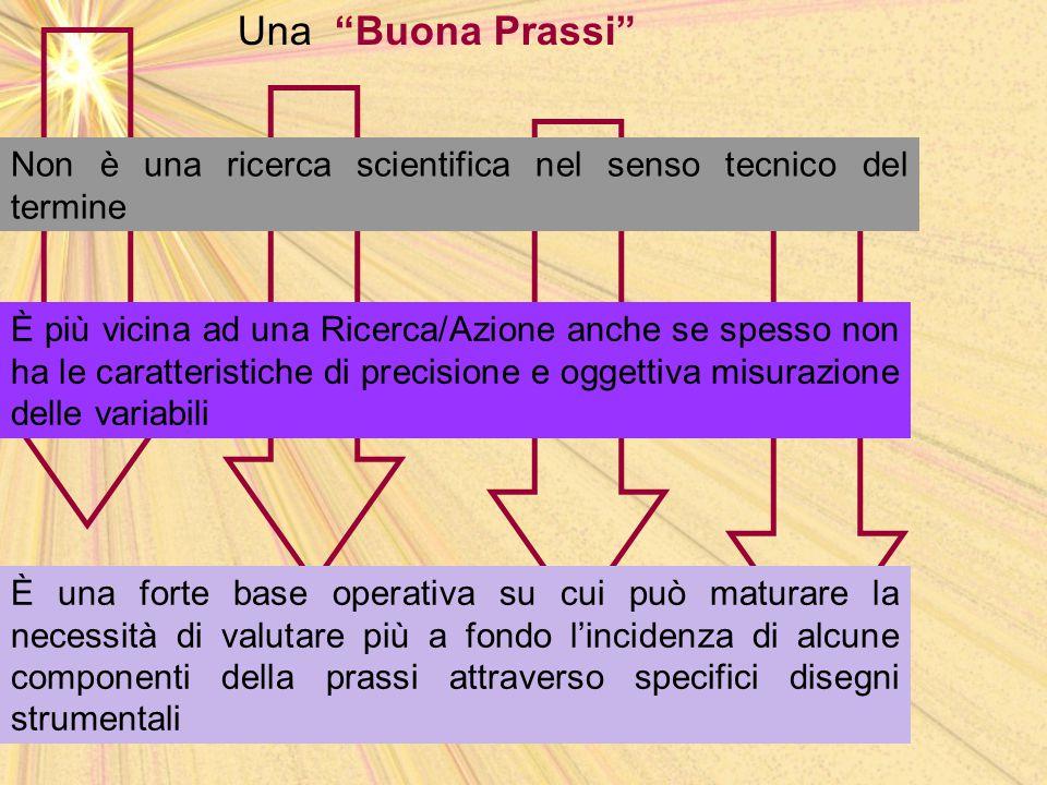 """Una """"Buona Prassi"""" Non è una ricerca scientifica nel senso tecnico del termine È una forte base operativa su cui può maturare la necessità di valutare"""