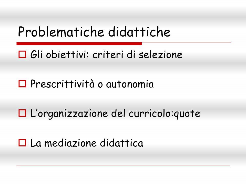 Problematiche didattiche  Gli obiettivi: criteri di selezione  Prescrittività o autonomia  L'organizzazione del curricolo:quote  La mediazione didattica