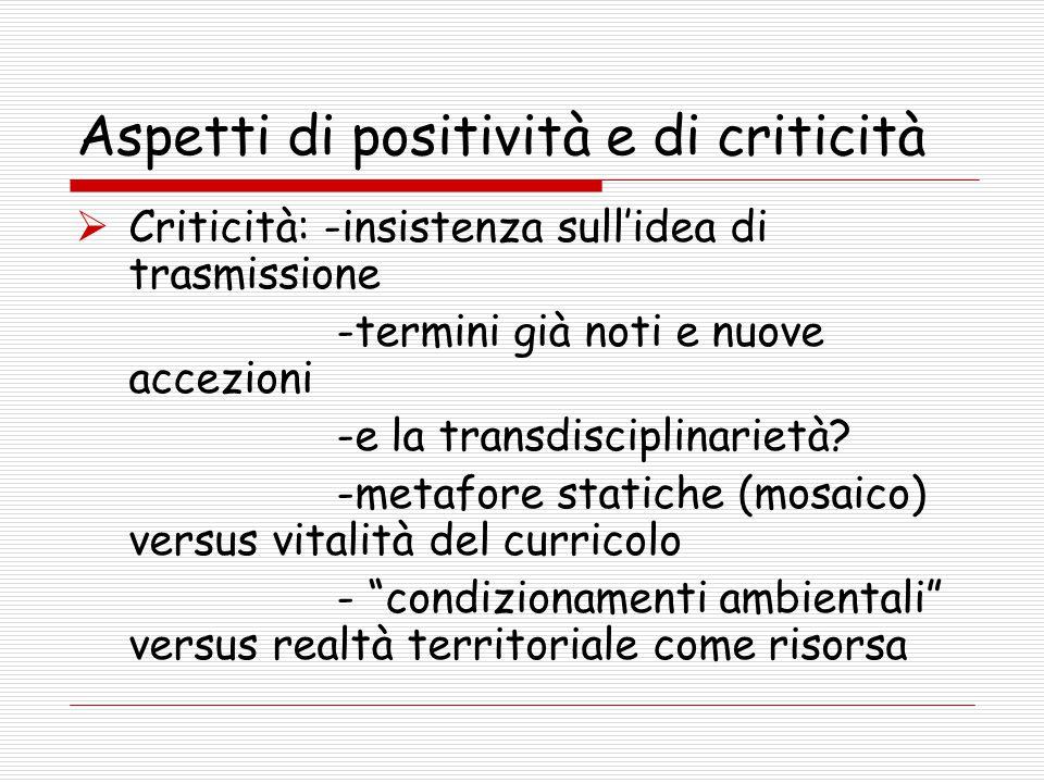 Aspetti di positività e di criticità  Criticità: -insistenza sull'idea di trasmissione -termini già noti e nuove accezioni -e la transdisciplinarietà.