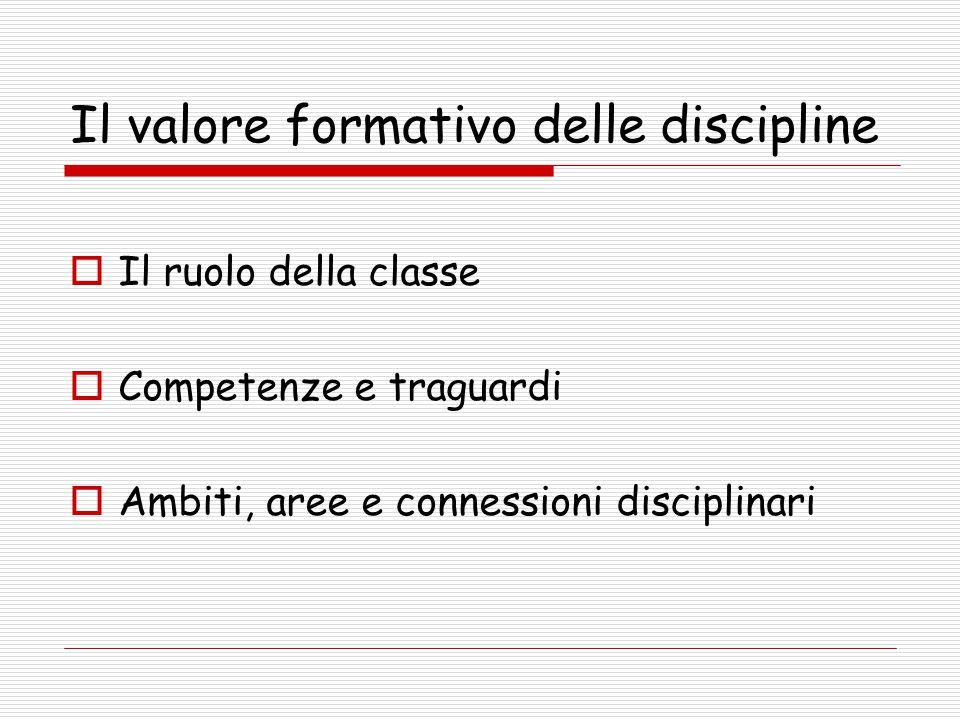 Il valore formativo delle discipline  Il ruolo della classe  Competenze e traguardi  Ambiti, aree e connessioni disciplinari