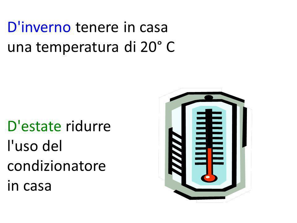 D inverno tenere in casa una temperatura di 20° C D estate ridurre l uso del condizionatore in casa