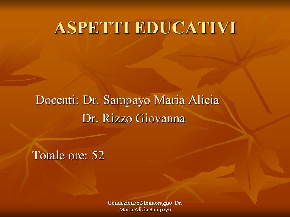 Conduzione e Monitoraggio Dr. Maria Alicia Sampayo ASPETTI EDUCATIVI Docenti: Dr.