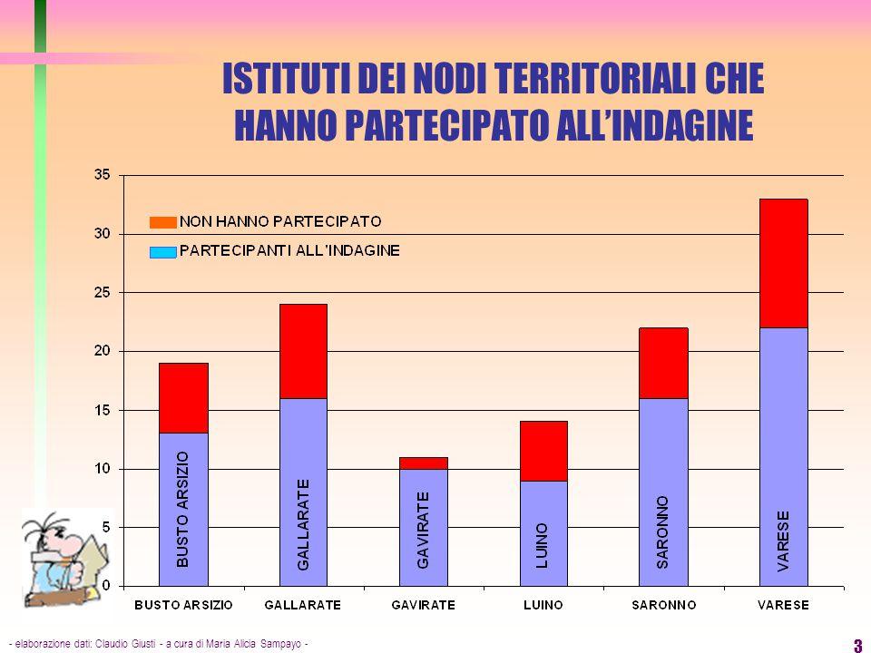 - elaborazione dati: Claudio Giusti - a cura di Maria Alicia Sampayo - 3 ISTITUTI DEI NODI TERRITORIALI CHE HANNO PARTECIPATO ALL'INDAGINE
