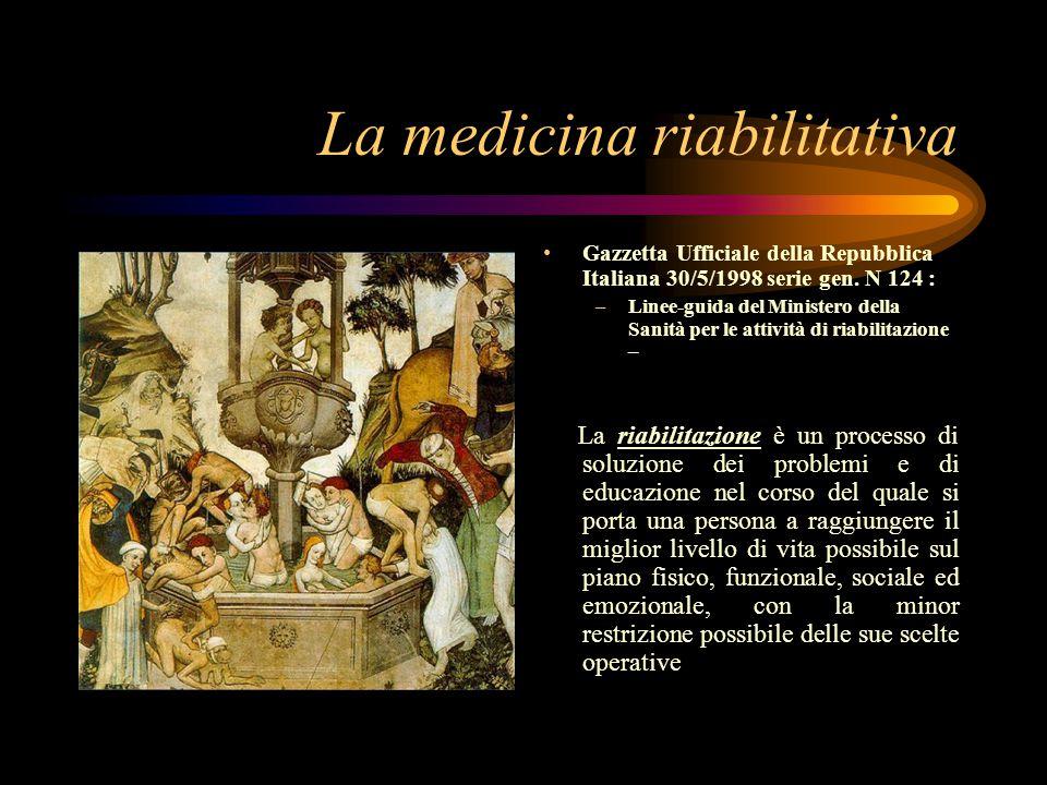 La medicina riabilitativa Gazzetta Ufficiale della Repubblica Italiana 30/5/1998 serie gen.