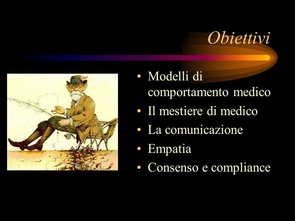 Obiettivi Modelli di comportamento medico Il mestiere di medico La comunicazione Empatia Consenso e compliance
