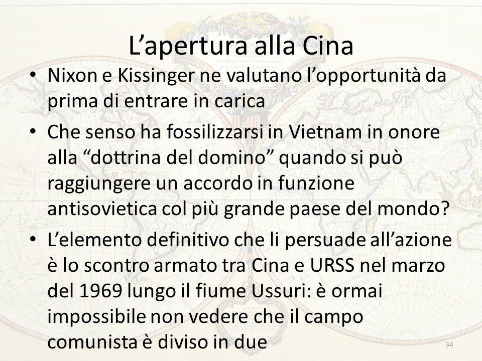 """L'apertura alla Cina Nixon e Kissinger ne valutano l'opportunità da prima di entrare in carica Che senso ha fossilizzarsi in Vietnam in onore alla """"do"""