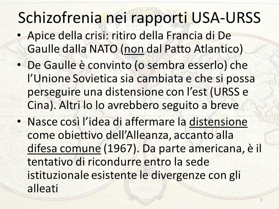 Schizofrenia nei rapporti USA-URSS Apice della crisi: ritiro della Francia di De Gaulle dalla NATO (non dal Patto Atlantico) De Gaulle è convinto (o s