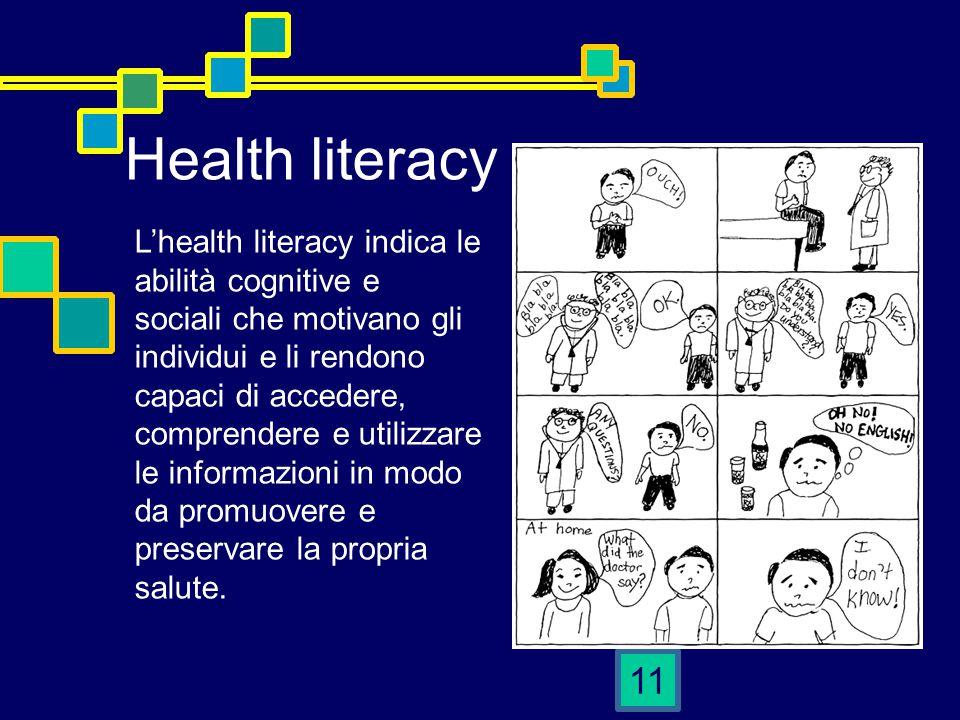 11 Health literacy L'health literacy indica le abilità cognitive e sociali che motivano gli individui e li rendono capaci di accedere, comprendere e utilizzare le informazioni in modo da promuovere e preservare la propria salute.