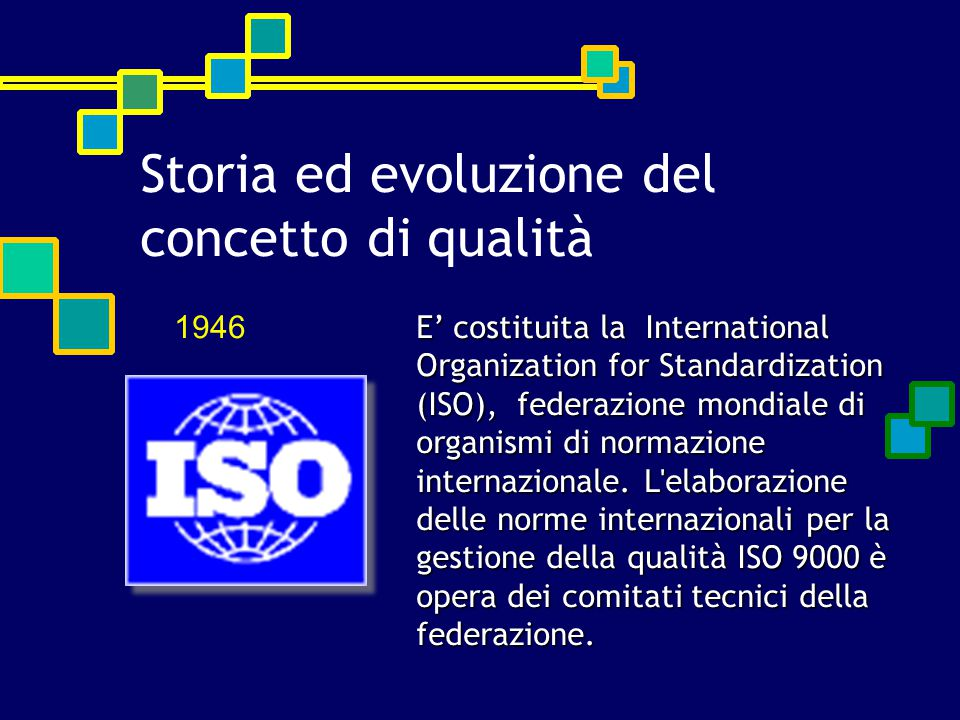 E' costituita la International Organization for Standardization (ISO), federazione mondiale di organismi di normazione internazionale.