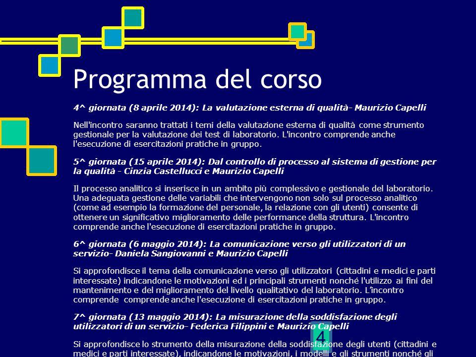 4 Programma del corso 4^ giornata (8 aprile 2014): La valutazione esterna di qualità- Maurizio Capelli Nell'incontro saranno trattati i temi della val