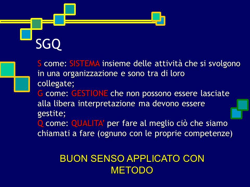 SGQ S come: SISTEMA insieme delle attività che si svolgono in una organizzazione e sono tra di loro collegate; G come: GESTIONE che non possono essere