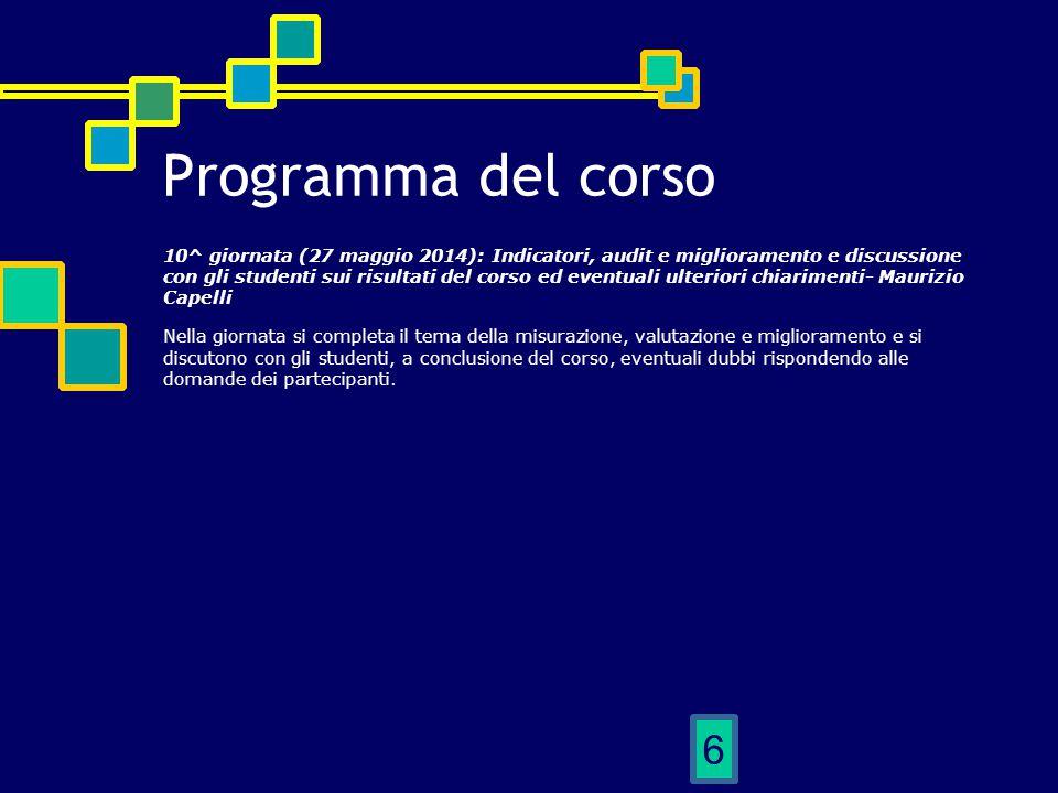 6 Programma del corso 10^ giornata (27 maggio 2014): Indicatori, audit e miglioramento e discussione con gli studenti sui risultati del corso ed event