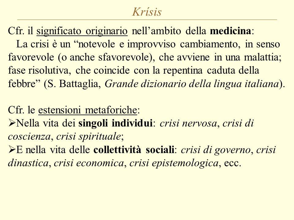 """Krísis Cfr. il significato originario nell'ambito della medicina: La crisi è un """"notevole e improvviso cambiamento, in senso favorevole (o anche sfavo"""