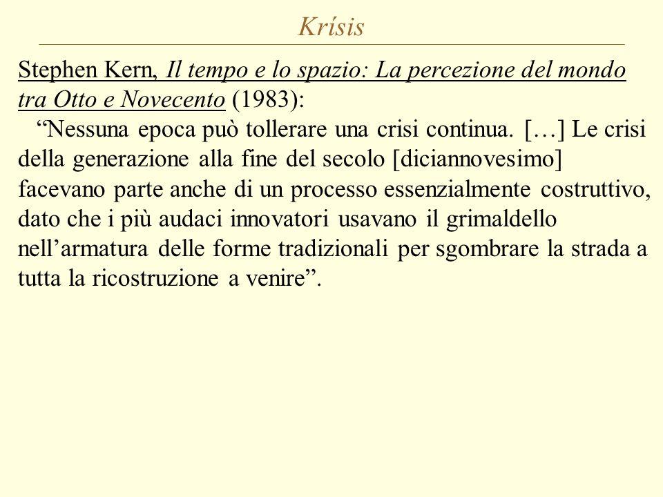 """Krísis Stephen Kern, Il tempo e lo spazio: La percezione del mondo tra Otto e Novecento (1983): """"Nessuna epoca può tollerare una crisi continua. […] L"""