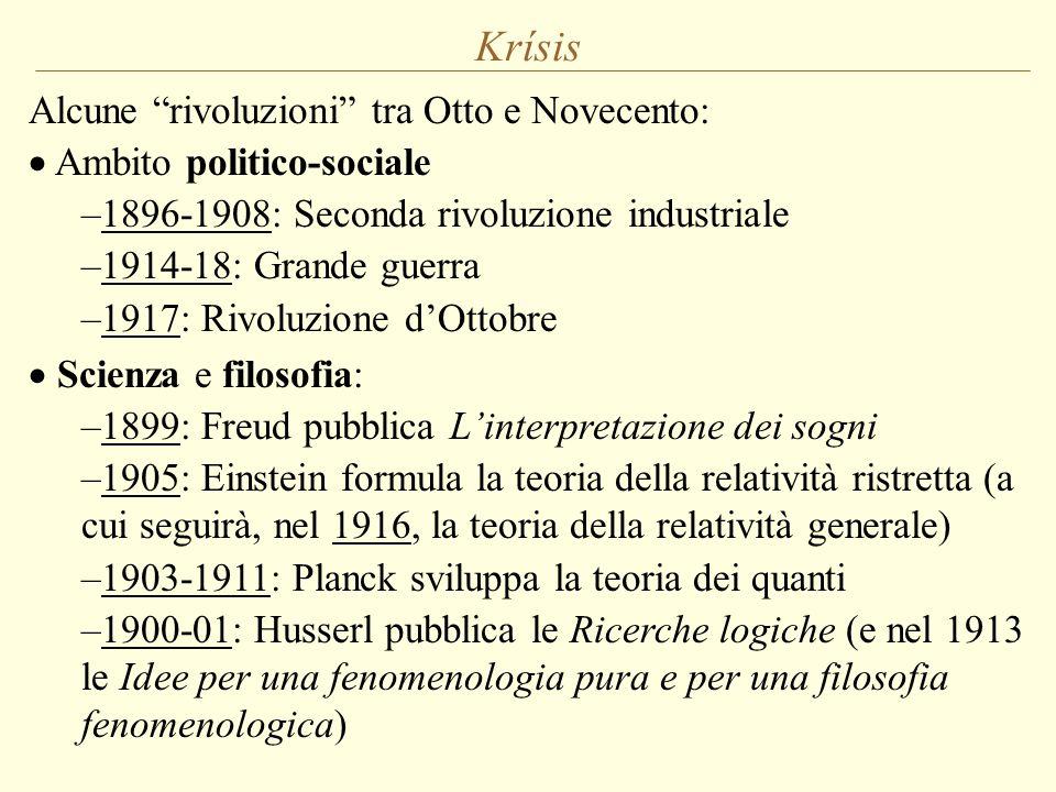 """Krísis Alcune """"rivoluzioni"""" tra Otto e Novecento:  Ambito politico-sociale –1896-1908: Seconda rivoluzione industriale –1914-18: Grande guerra –1917:"""