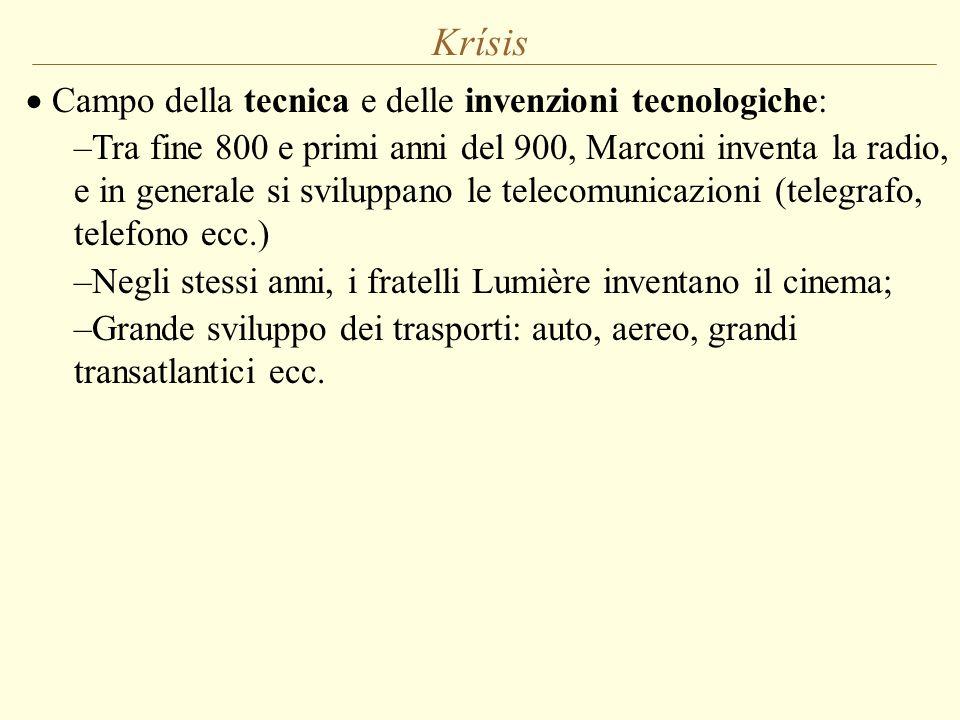 Krísis  Campo della tecnica e delle invenzioni tecnologiche: –Tra fine 800 e primi anni del 900, Marconi inventa la radio, e in generale si sviluppan