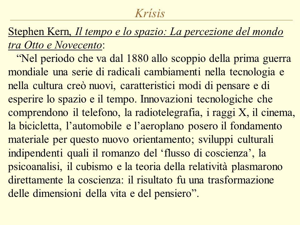 """Krísis Stephen Kern, Il tempo e lo spazio: La percezione del mondo tra Otto e Novecento: """"Nel periodo che va dal 1880 allo scoppio della prima guerra"""