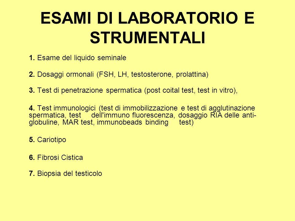 ESAMI DI LABORATORIO E STRUMENTALI 1. Esame del liquido seminale 2. Dosaggi ormonali (FSH, LH, testosterone, prolattina) 3. Test di penetrazione sperm