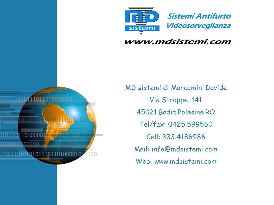 Free Powerpoint Templates MD sistemi di Marcomini Davide Via Stroppe, 141 45021 Badia Polesine RO Tel/fax: 0425.599560 Cell: 333.4186986 Mail: info@md