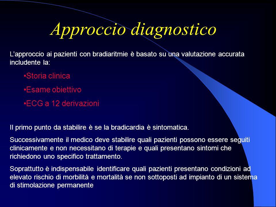 Approccio diagnostico L'approccio ai pazienti con bradiaritmie è basato su una valutazione accurata includente la: Storia clinica Esame obiettivo ECG