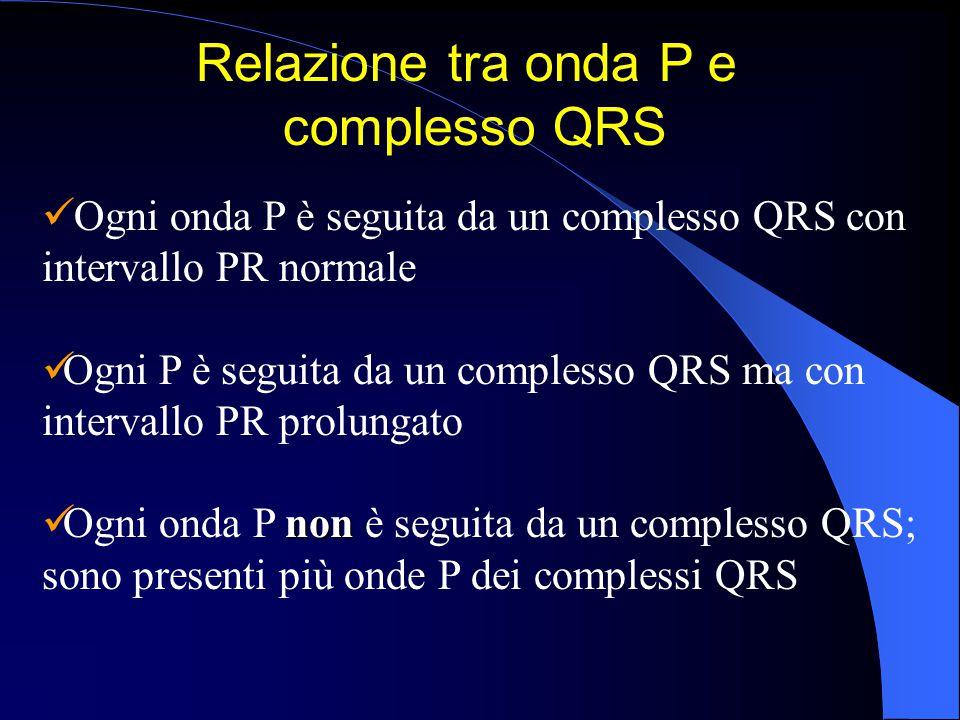Ogni onda P è seguita da un complesso QRS con intervallo PR normale Ogni P è seguita da un complesso QRS ma con intervallo PR prolungato non Ogni onda
