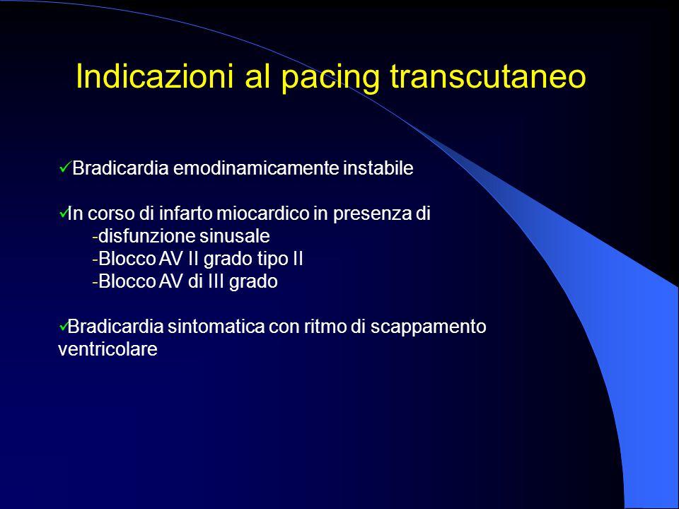 Indicazioni al pacing transcutaneo Bradicardia emodinamicamente instabile In corso di infarto miocardico in presenza di - disfunzione sinusale - Blocc