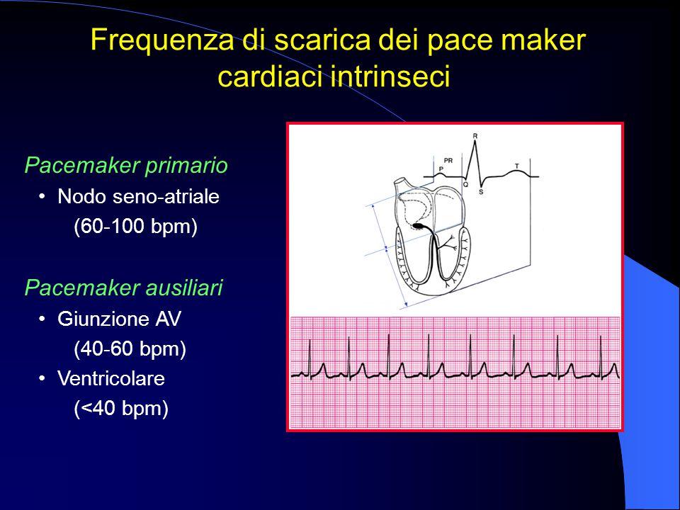 Pacemaker primario Nodo seno-atriale (60-100 bpm) Pacemaker ausiliari Giunzione AV (40-60 bpm) Ventricolare (<40 bpm) Frequenza di scarica dei pace ma