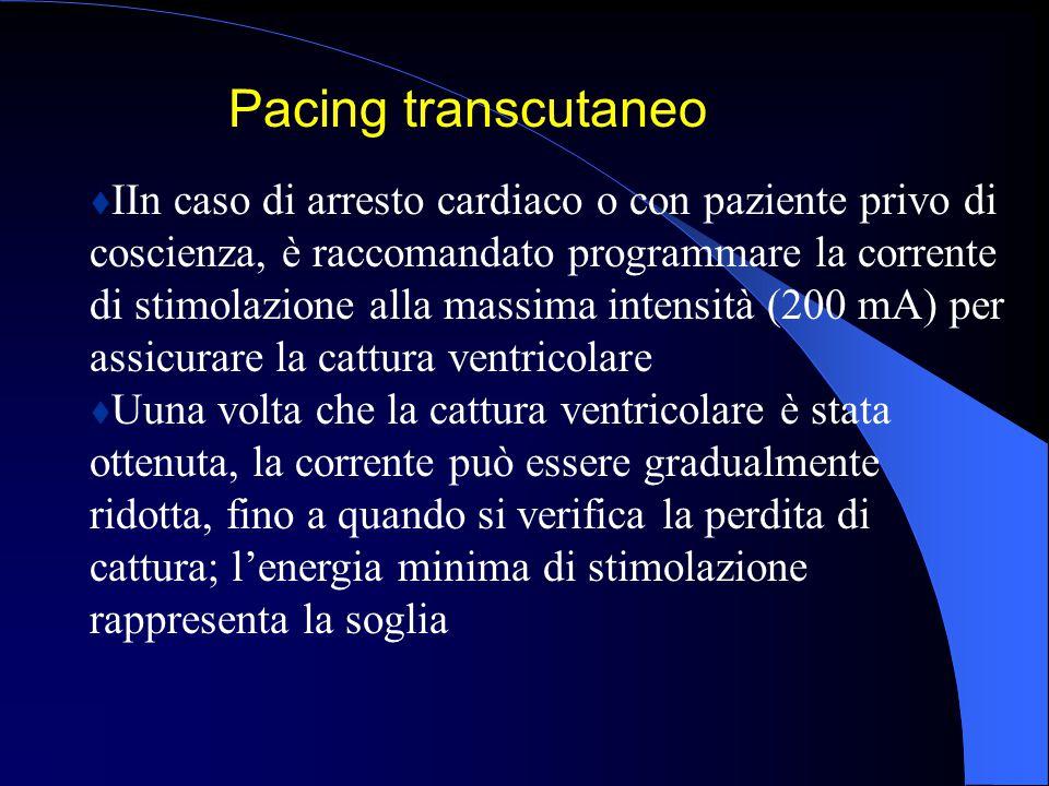 tIIn caso di arresto cardiaco o con paziente privo di coscienza, è raccomandato programmare la corrente di stimolazione alla massima intensità (200 mA