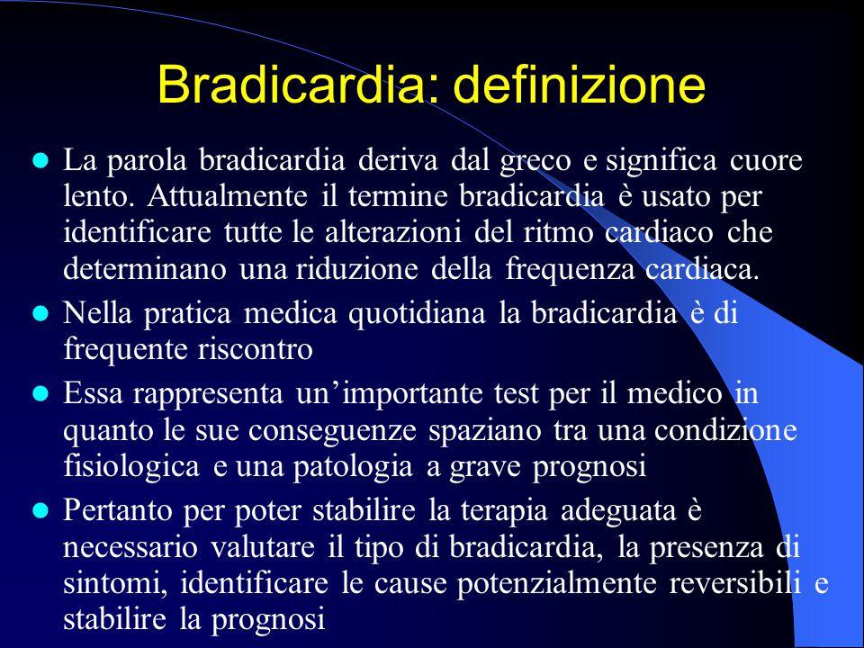 Disordine della formazione dell'impulso Classificazione delle bradiaritmie Arresto sinusale Bradicardia sinusale SindromeBradi/Tachicardia Blocco seno-atriale Blocco AV di 1 ° grado Blocco AV di 2 ° grado -Mobitz I (Luciani-Wenckebach) -Mobitz II Blocco AV di 3 ° grado Blocco Bi/Trifascicolare Disordine della conduzione dell'impulso