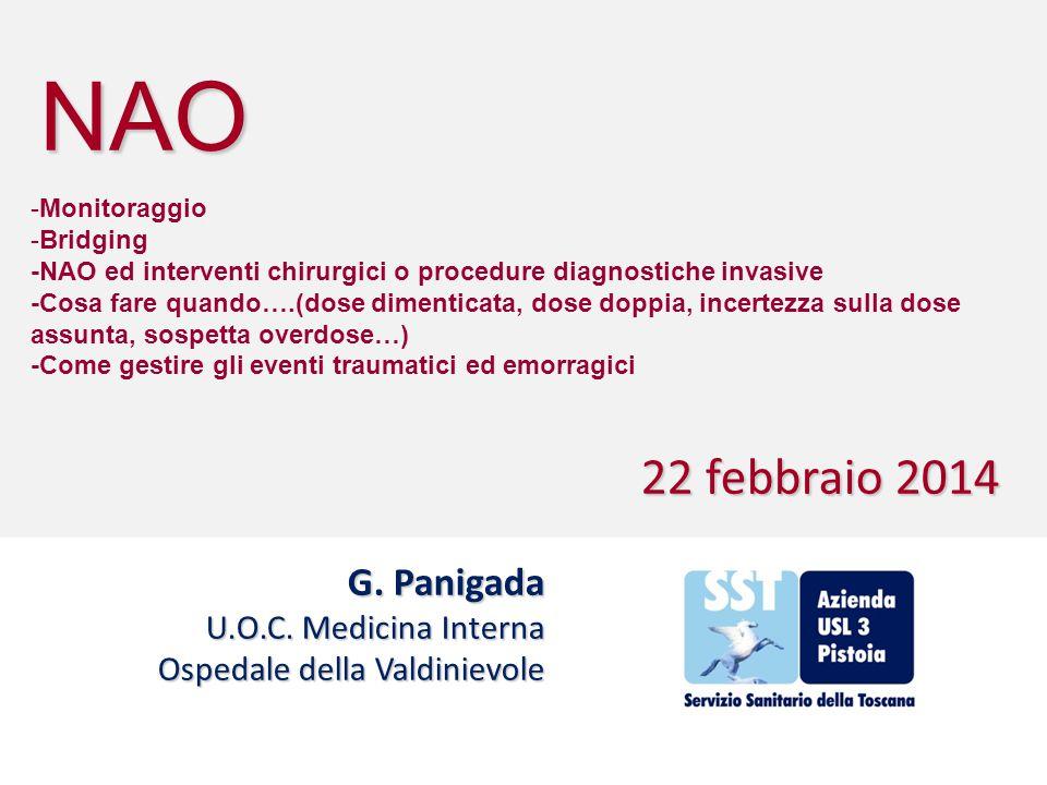 NAO G. Panigada U.O.C. Medicina Interna Ospedale della Valdinievole 22 febbraio 2014 -Monitoraggio -Bridging -NAO ed interventi chirurgici o procedure