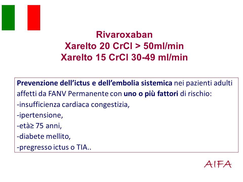 Rivaroxaban Xarelto 20 CrCl > 50ml/min Xarelto 15 CrCl 30-49 ml/min Prevenzione dell'ictus e dell'embolia sistemica nei pazienti adulti affetti da FANV Permanente con uno o più fattori di rischio: -insufficienza cardiaca congestizia, -ipertensione, -età≥ 75 anni, -diabete mellito, -pregresso ictus o TIA..
