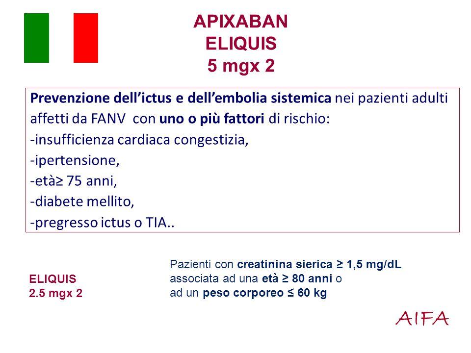 APIXABAN ELIQUIS 5 mgx 2 Prevenzione dell'ictus e dell'embolia sistemica nei pazienti adulti affetti da FANV con uno o più fattori di rischio: -insufficienza cardiaca congestizia, -ipertensione, -età≥ 75 anni, -diabete mellito, -pregresso ictus o TIA..