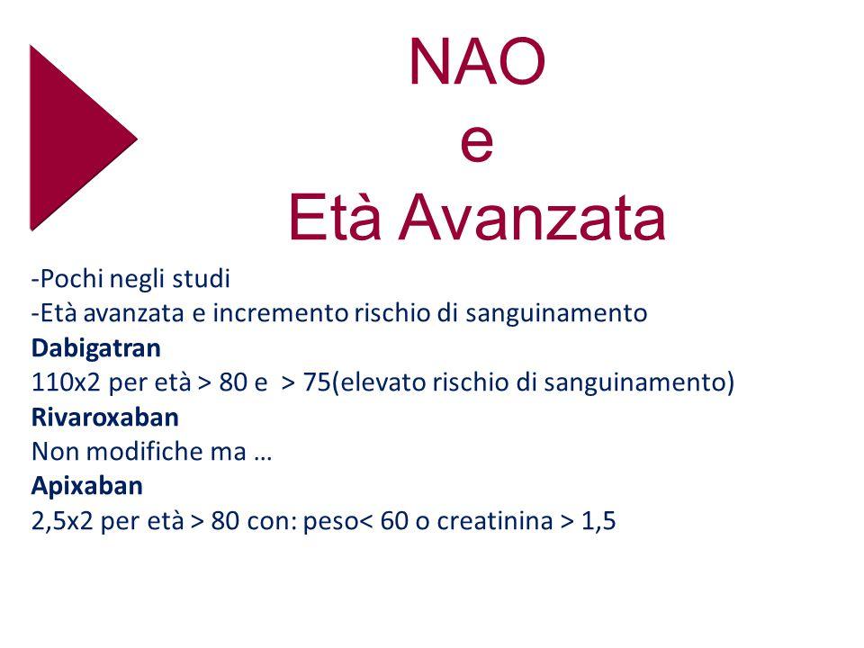 NAO e Età Avanzata -Pochi negli studi -Età avanzata e incremento rischio di sanguinamento Dabigatran 110x2 per età > 80 e > 75(elevato rischio di sanguinamento) Rivaroxaban Non modifiche ma … Apixaban 2,5x2 per età > 80 con: peso 1,5